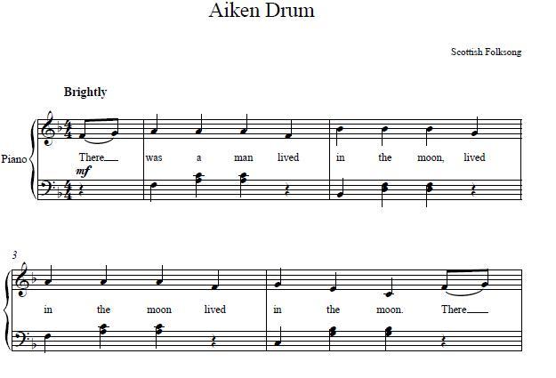 Aiken Drum Piano Sheet Music - Piano Mother
