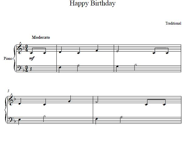 Piano piano chords happy birthday : Happy Birthday Piano Sheet Music
