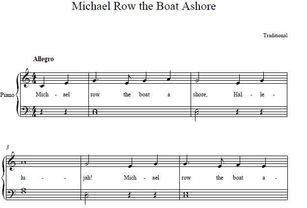Download michael row the boat ashore audio file midi