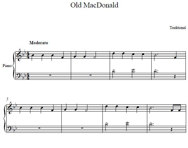 Old MacDonald Piano Sheet Music