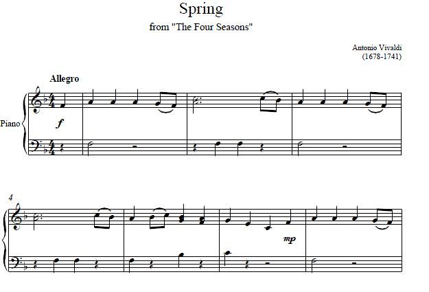 Spring From The Four Seasons Piano Sheet Music Spring From