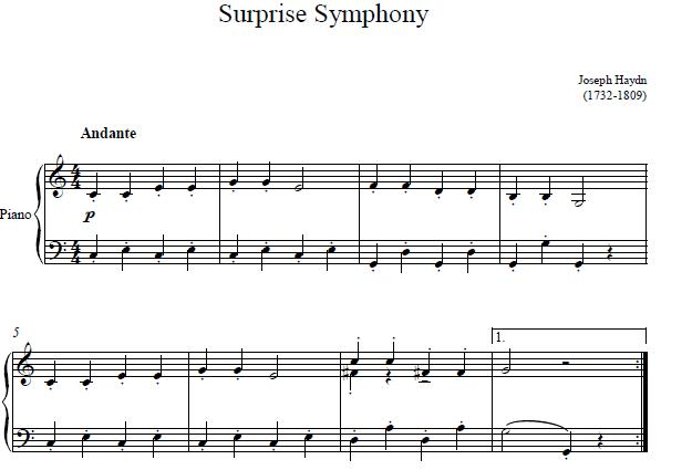 Surprise Symphony sheet music