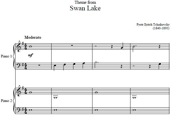 Swan Lake Piano Duet Sheet Music, Swan