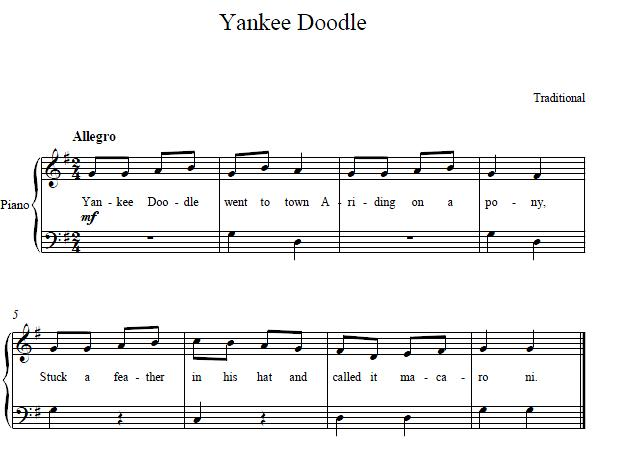 Easy Piano Sheet Music Yankee Doodle