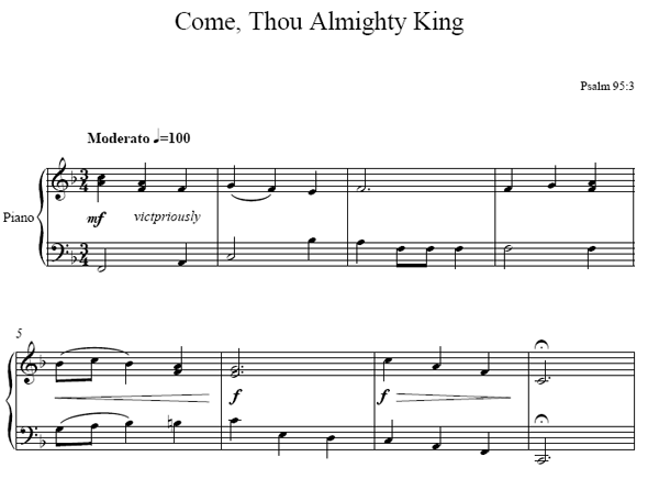 Come Thou Almighty King Piano sheet music
