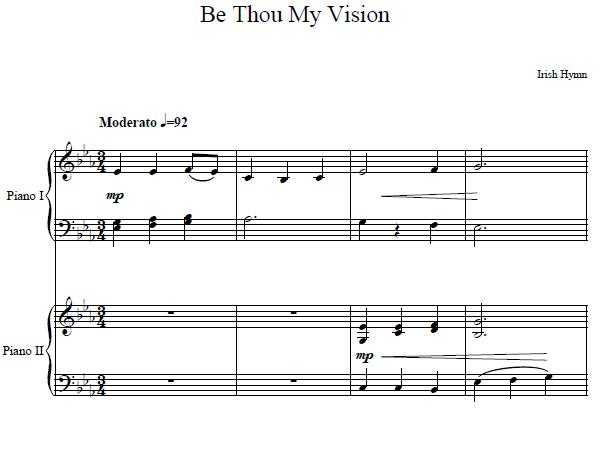 Be Thou My Vision Piano Sheet Music For Duet Piano Mother