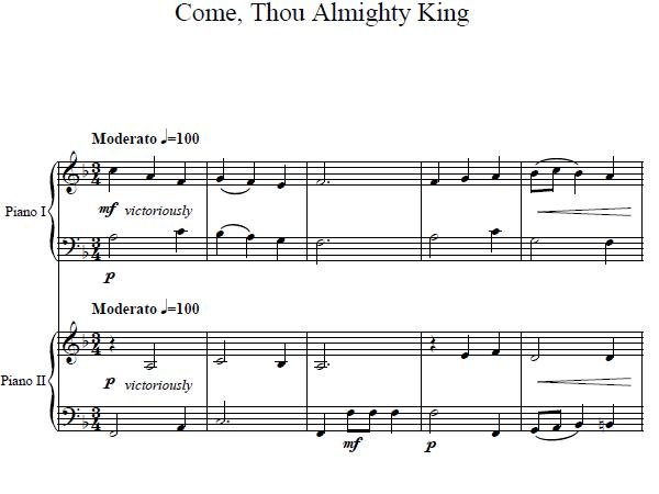 Come Thou Almighty Piano Duet
