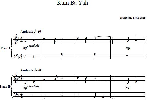 Kumbaya sheet music popular piano sheet music for beginners free free