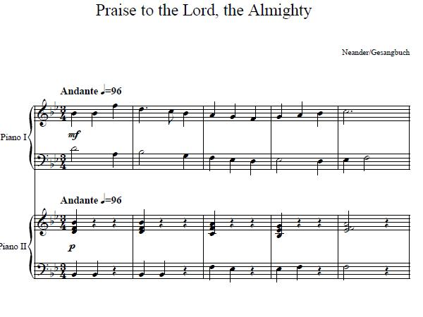 Praise To The Lord Almighty Duet