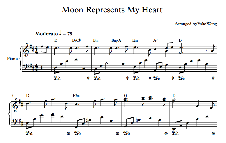 Moon Represents My Heart sheet music