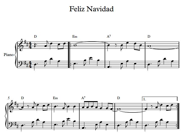 Feliz Navidad Piano Sheet Music - Piano Mother