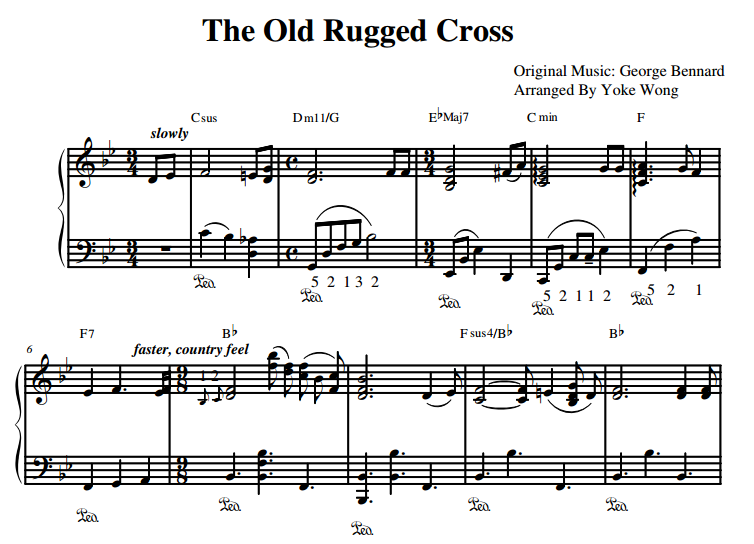The Old Rugged Cross Piano Sheet Music