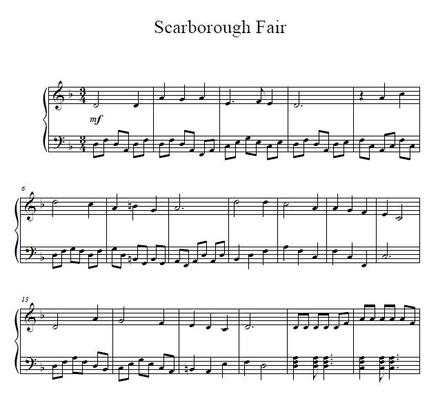 Free Easy Piano Sheet Music Score Scarborough Fair: Scarborough Fair Piano Sheet Music