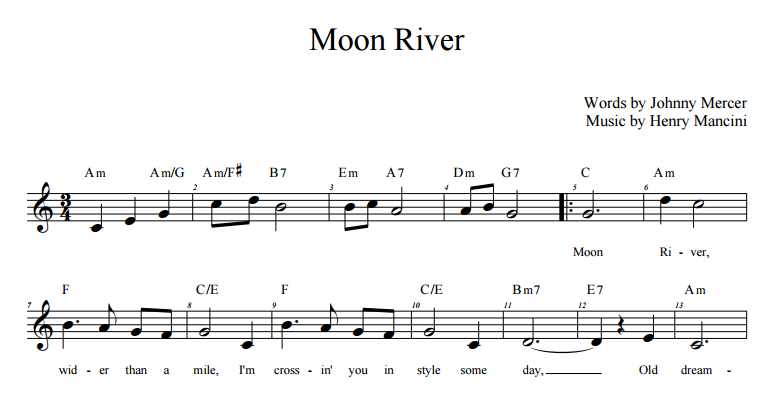 moon river lead sheet