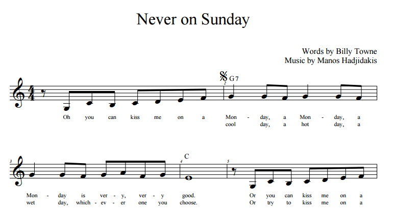 never on Sunday lead sheet