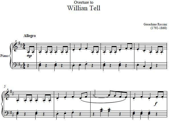 Overture To William Tell Piano