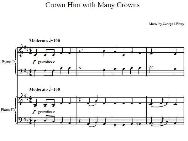 Crown Him With Many Crowns Piano Duet
