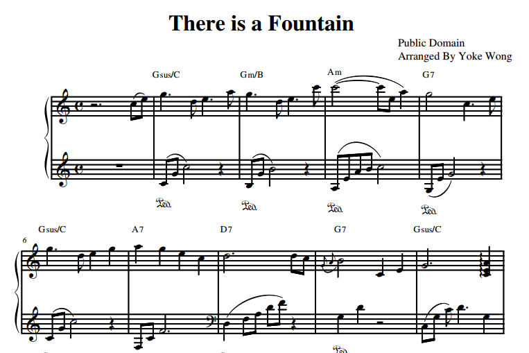 there is a fountain piano sheet music