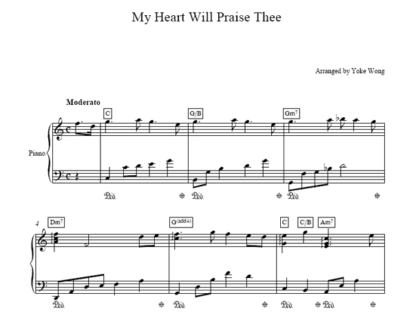 My Heart Will Praise Thee Sheet Music