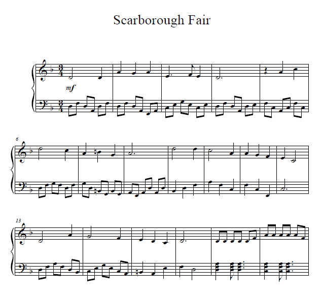 Scarborough Fair Piano Sheet Music