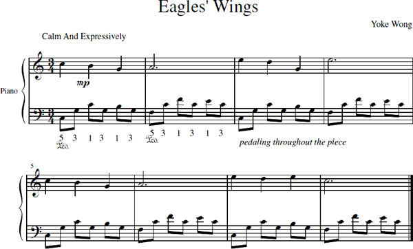 Eagle's Wings piano sheet music